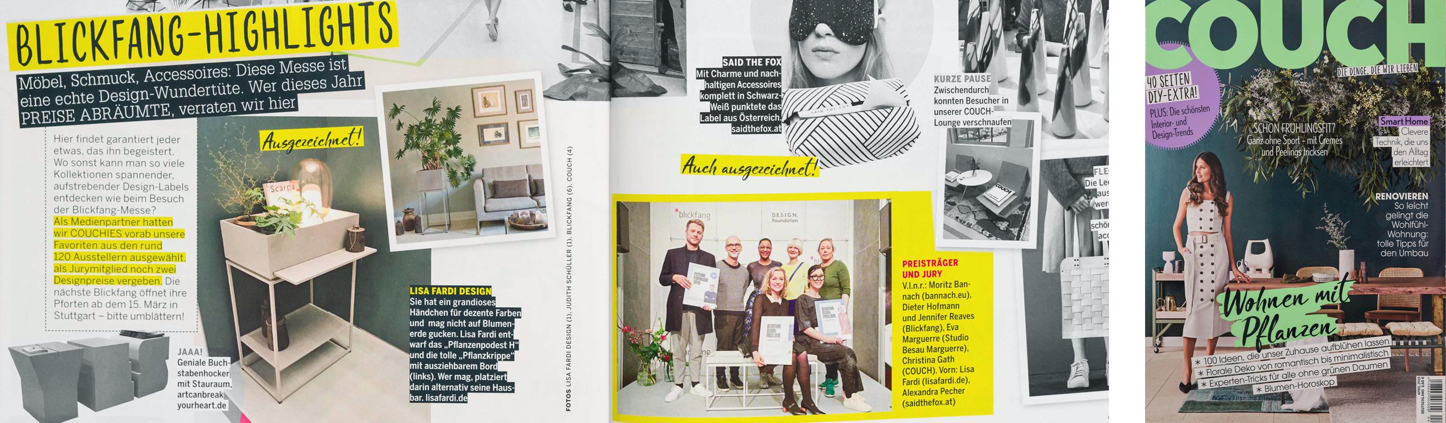 Artikel im Couch Magazin aus Hamburg über Möbeldesign und Pflanzengefäße von Lisa Fardi