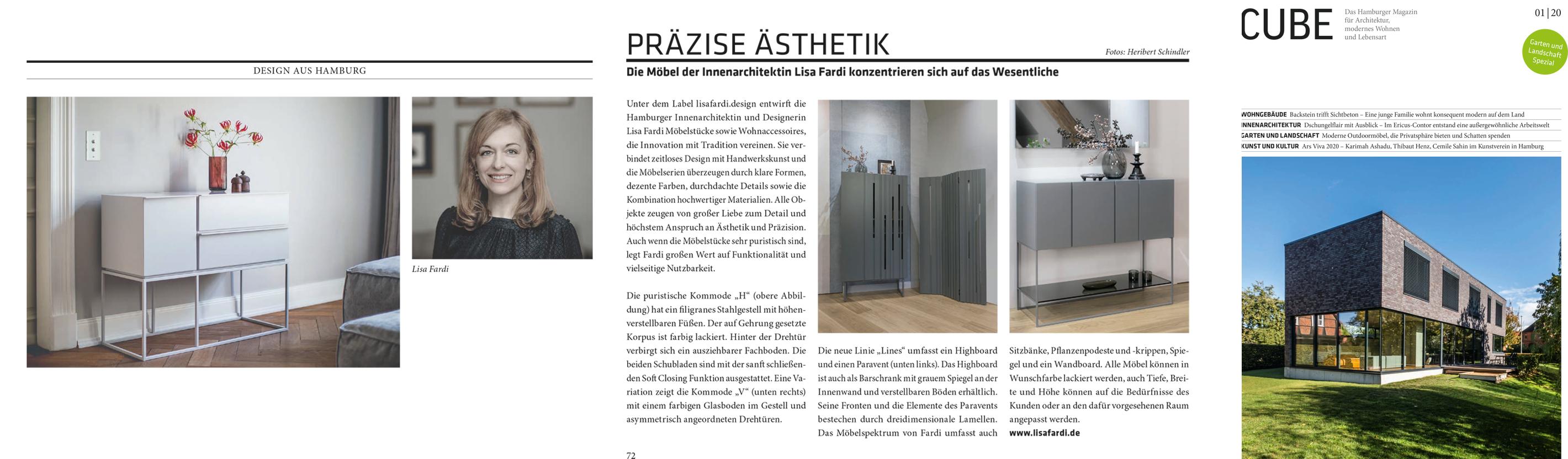 Artikel im Cube Magazin Haburg,Präzise Ästhetik, eine Artikel über das Label lisafardiDESIGN der Innenarchitektin Lisa Fardi aus Hamburg